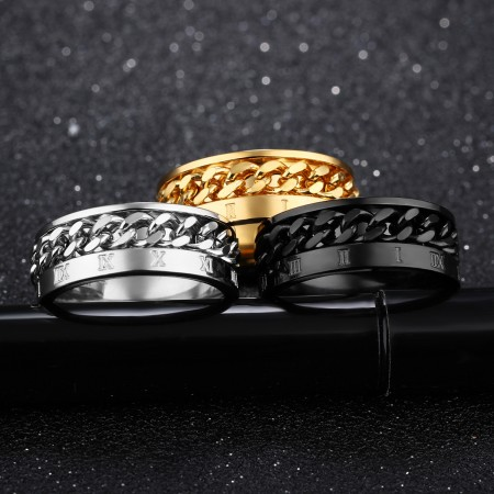 Titanium Steel Black Personality Roman Numeral Ring Rotating Chain Ring for Men