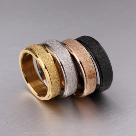 Personalized Simple 6mm Frosted Band Titanium Steel His And Her Promise Rings