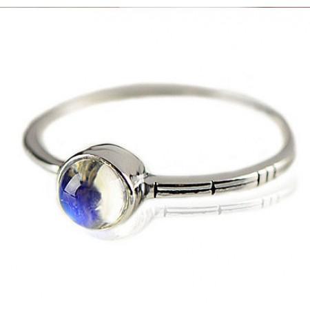 Sri Lanka Blue Moonstone s925 Sterling Silver Ring For Her