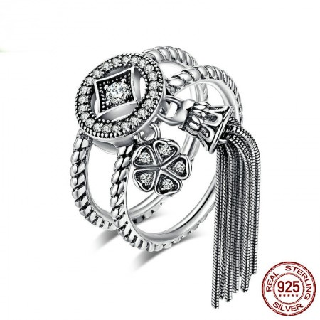 Personalized 925 Sterling Silver Cubic Zirconia Bohemian National Style Double Ring