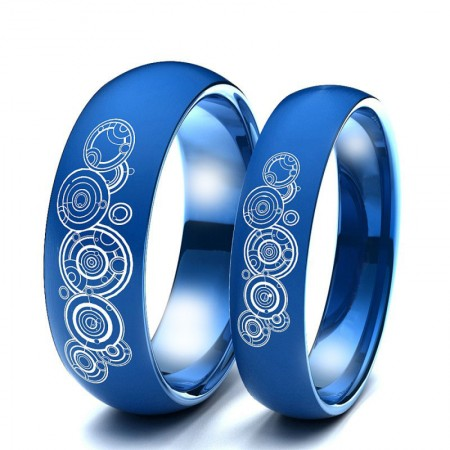Doctor Who Titanium Blue Silver Gold Couple Rings (Price for a Pair)