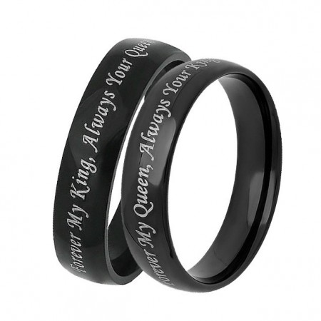 Forever My King Always Your Queen and  Forever My Queen Always Your King Black Titanium Couple Rings (Price for a Pair)