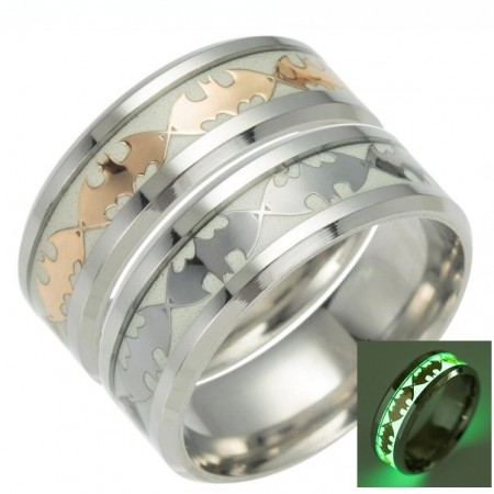 Luminous Silver or Gold Batman Fluorescence Titanium Steel Rings