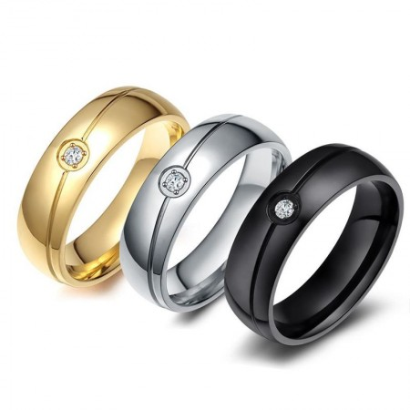 Simple Gold-Plated Titanium Steel Rings