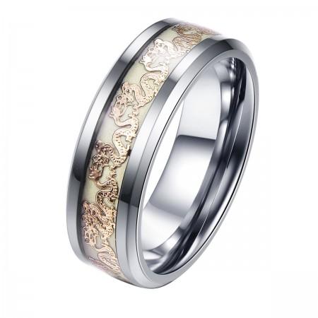 Noctilucent Vivid Dragon Pattern Titanium Steel Man Ring