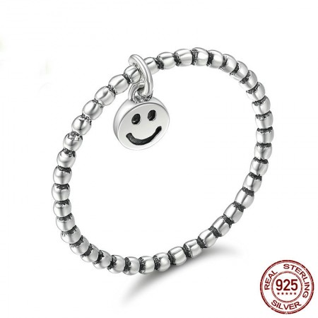 Personalized Simple 925 Sterling Silver Smile Face Ring