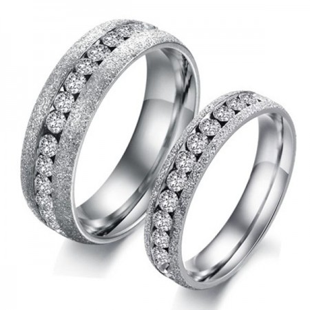 Latest Single Row Crystal Titanium Steel Lover's Rings(Price For a Pair)