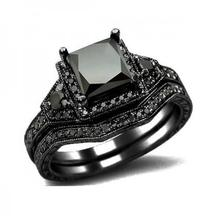 Princess Cut CZ 925 Sterling Silver Engagement / Wedding Ring Black Gold Plated