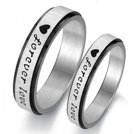 Simple Style Classic Sweet Forever Love Titanium Steel Couple Rings  (Price For a Pair)