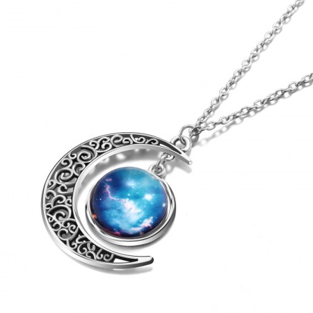 Fancy Starry Sky And Moon Shape Necklace For Women