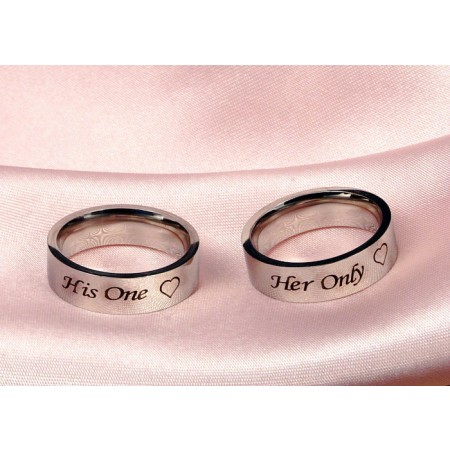 His One Her Only Titanium Couple Rings (Price for a Pair)
