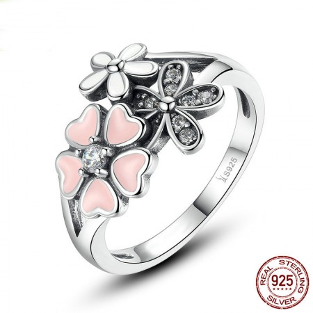 Personalized 925 Sterling Silver Cubic Zirconia Flower Ring