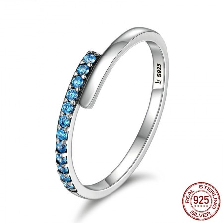 Personalized Simple 925 Sterling Silver Blue Cubic Zirconia Ring
