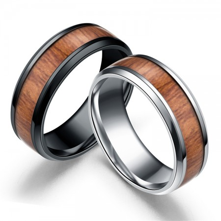 Hot Sale Wood Inlaid Stainless Steel Black & Silver Mens Wedding Band Ring