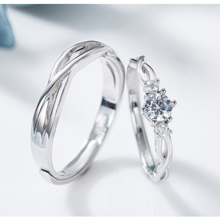 Adjustable CZ S925 Sterling Silver Braid Lovers Promise Rings for Couple