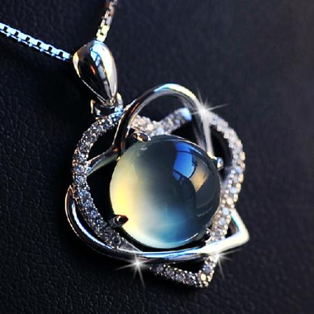 Natural Prehnite Gemstone 925 silver Heart Shape Necklace