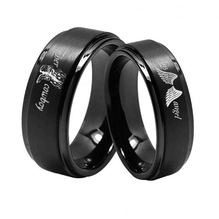 Her Cowboy His Angel Titanium Couple Rings (Price for a Pair)