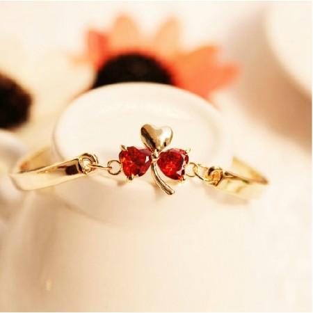 New Fashion Ruby Bowknot 14K Gold Plated Women's Bangle