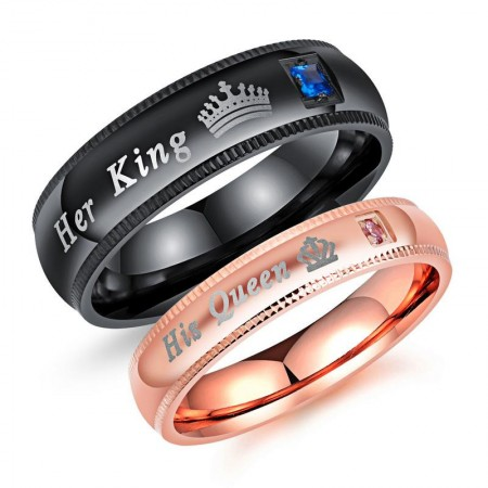 Her King His Queen 316L Titanium Steel Crystal Couple Rings (Price For a Pair)