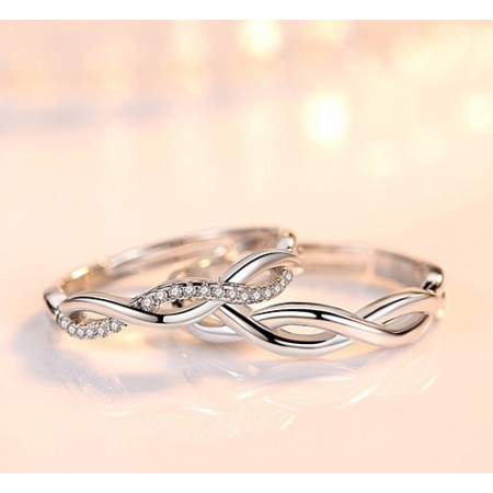 5A Zircon Wave-Shaped Platinum Plated Lovers Couple Rings With Open Loop