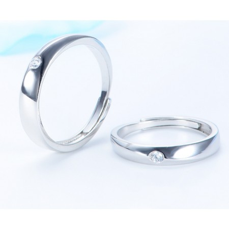 Exclusive Original Design Star-Shaped S925 Sterling Silver Couple Rings With Open Loop