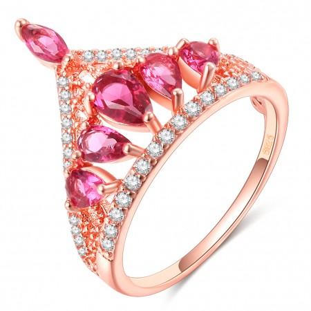 Design Romantic Gifts For Love Rose Gold & Platinum Crown Ring