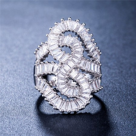 Exaggeration Full Zircon S Winding Lady Ring Ultra-luxury Banquet Party Jewelry