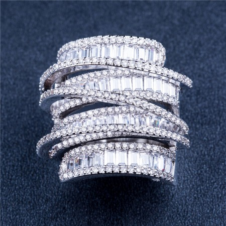 Luxurious Ring Geometric Line Full Diamond Zircon Reception Party Ring