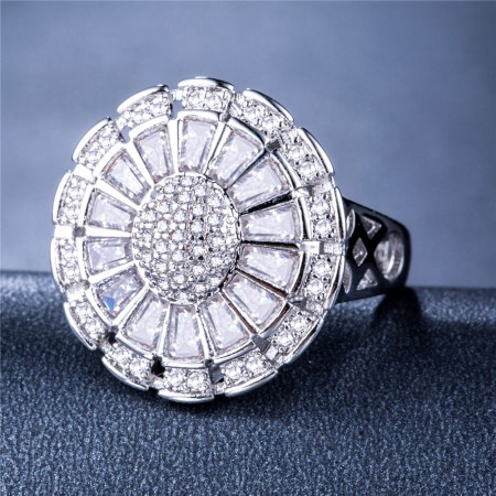 Luxurious Fashion Sunflower Ring Creative Flower Full of Zircon Reception Accessories