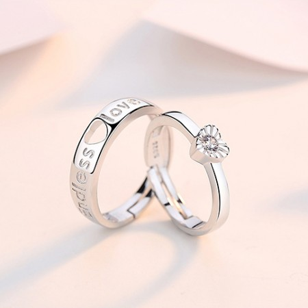 Heart-Shaped Endless Love Sterling Silver Lovers Couple Ring With Open Loop