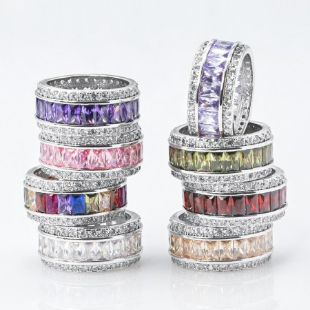 Women Rings Wedding Engagement Bridal Jewelry Cubic Zirconia Inlaid Finger Ring