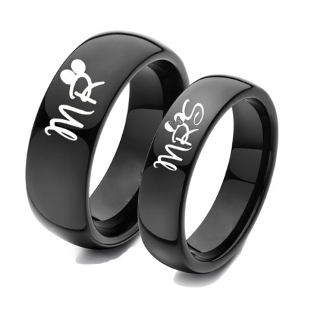 MR and MRS Black Titanium Couple Rings (Price for a Pair)