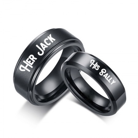 HIS SALLY HER JACK Black Titanium Couple Rings (Price for a Pair)