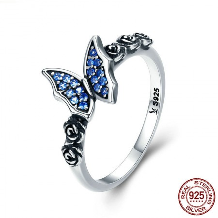 Personalized Simple 925 Sterling Silver Cubic Zirconia Butterfly And Flower Ring