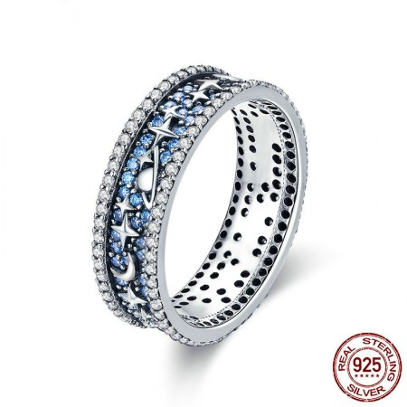 Personalized 925 Sterling Silver Blue Cubic Zirconia Hollow Star Moon Ring