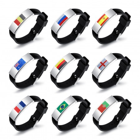 World Cup Football Country Personality Silicone Men's Bracelet