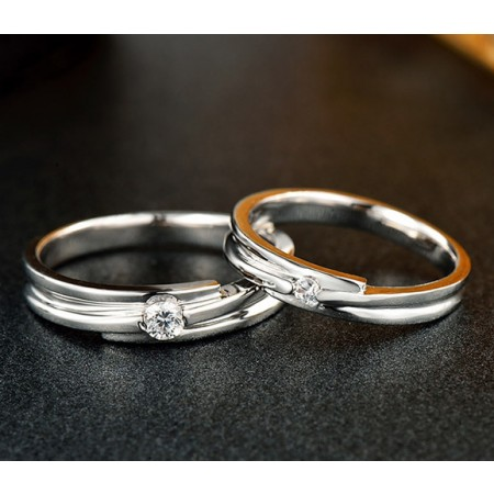 925 Sterling Silver Cubic Zirconia Lovers Couple Rings