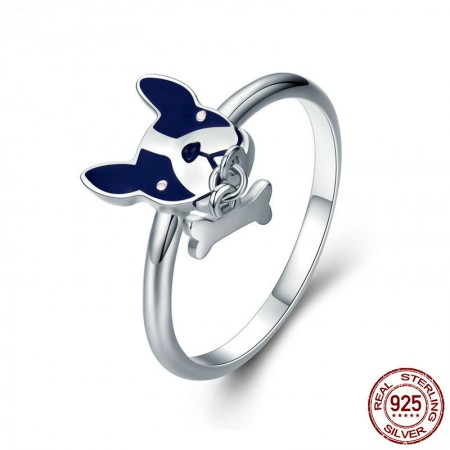 Personalized 925 Sterling Silver Cubic Zirconia Dog Ring