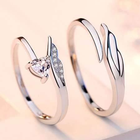 Angel's Feather Promise Rings For Couples In 925 Sterling Silver Adjustable Couple Rings