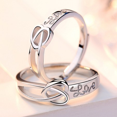 Simple Promise Rings For Couples In 925 Sterling Silver Adjustable Couple Rings