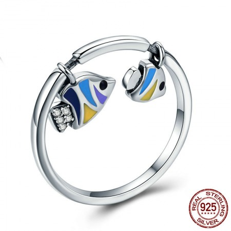 Personalized 925 Sterling Silver Cubic Zirconia Tropical Fish Ring