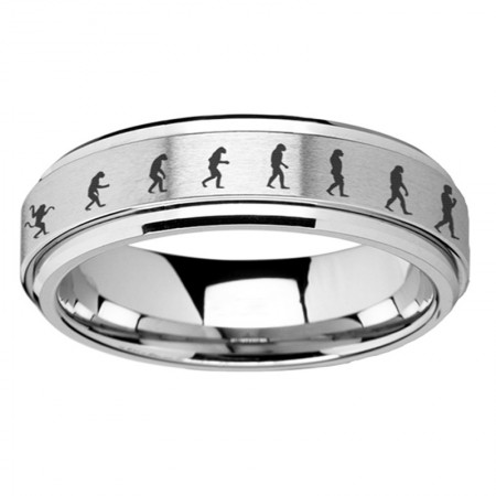 Human Evolution Map Titanium Steel Rings