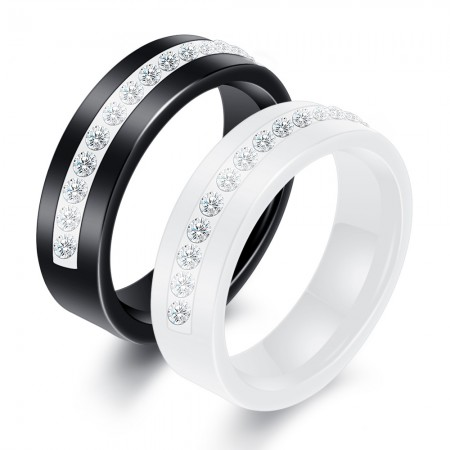 Simple Ceramic Ring AAA Zirconia Ring Couple Wedding Engagement Ring (Price for a Pair)
