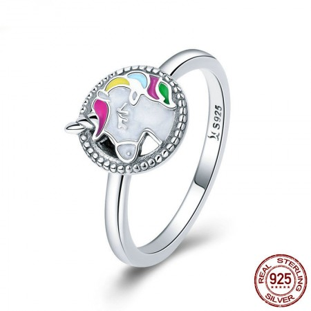 Personalized 925 Sterling Silver Cubic Zirconia Unicorn Ring