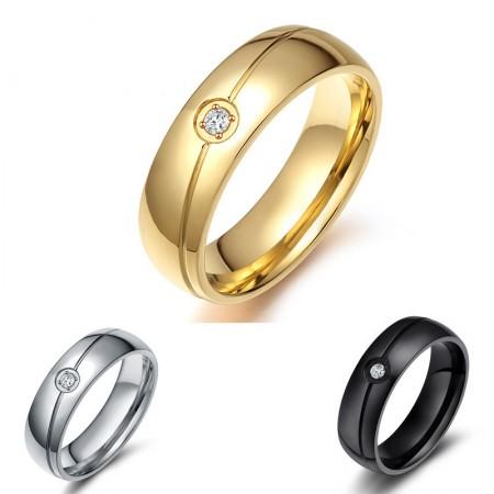 Simple and Elegant Black Gold Silver Titanium Steel Men's Ring with Cubic Zirconia
