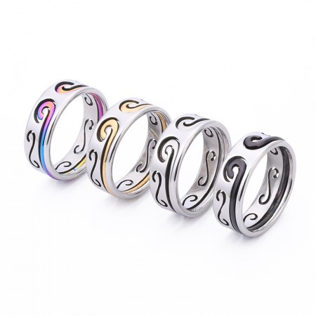 Sun Wukong Tightening Spell Ring Stainless Steel 2 in 1 For Women Men Wedding Bands