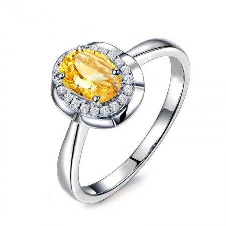 Natural Citrine S925 Sterling Silver Promise Ring For Her