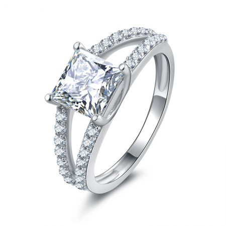 925 Sterling Silver Princess Square Stone Wedding Ring SONA Diamond Ring