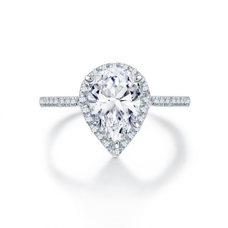 925 Silver SONA Diamond Ring Drop-shaped Female Ring Pear-shaped Sterling Silver Plated White Gold Ring
