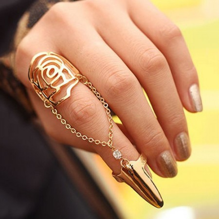 Fashion Sparkling Alloy Rhinestone Inlaid Nail Ring For Women